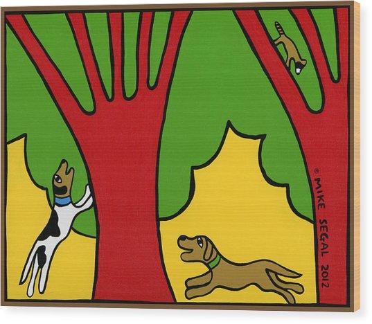 Barking Up The Wrong Tree Wood Print