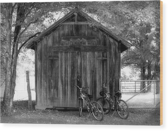 Barn And Bikes Wood Print by Paulette Maffucci