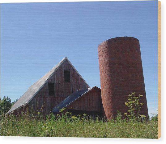 Barn And Silo 2123 Wood Print