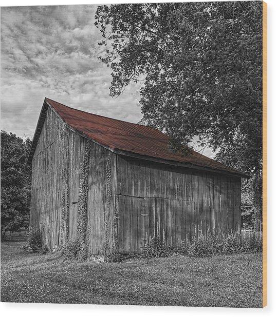 Barn At Avenel Plantation - Red Roof Wood Print
