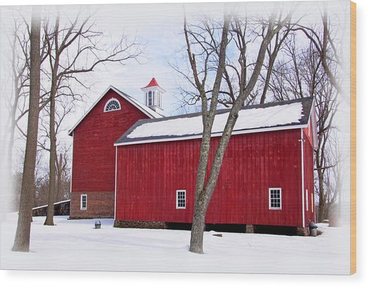 Barn At Tinicum Park Wood Print