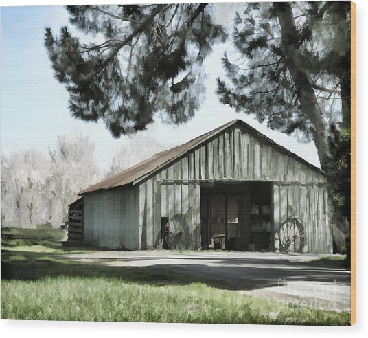 Barn At Vina Winery Wood Print