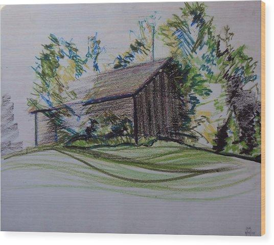 Old Barn At Wason Pond Wood Print