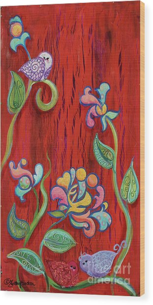 Barn Birdys Mixed Media Art Painting Wood Print