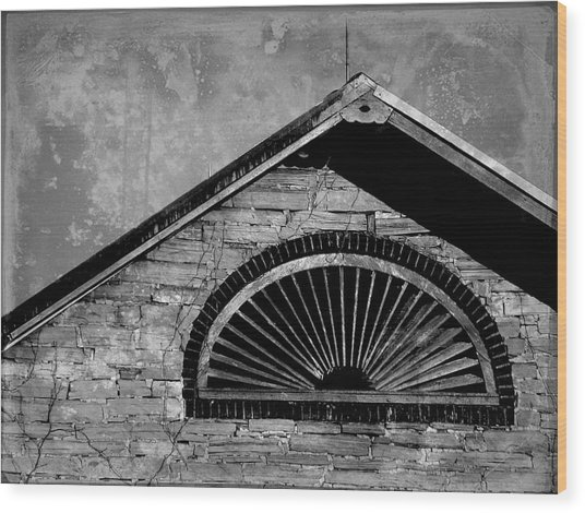 Barn Detail - Black And White Wood Print