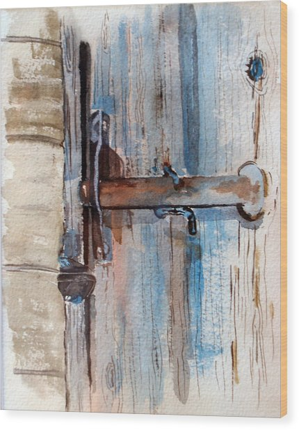 Barn Door Latch Wood Print