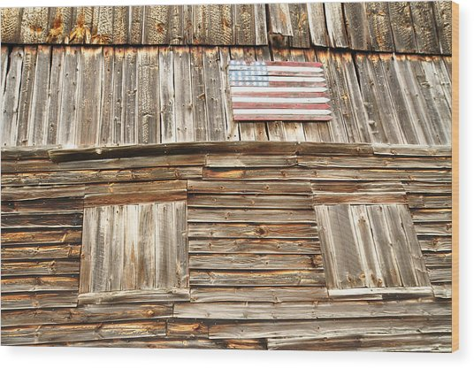 Barn Flag Wood Print