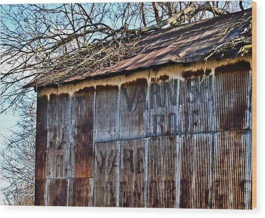 Barn Ghost Sign 1 Wood Print
