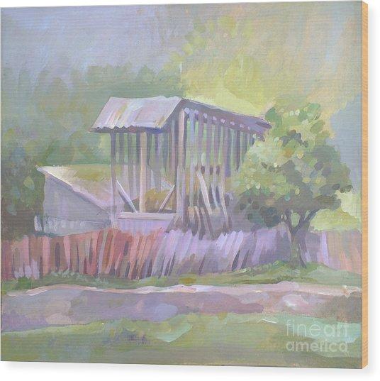 Barn In Agarcia Wood Print by Filip Mihail