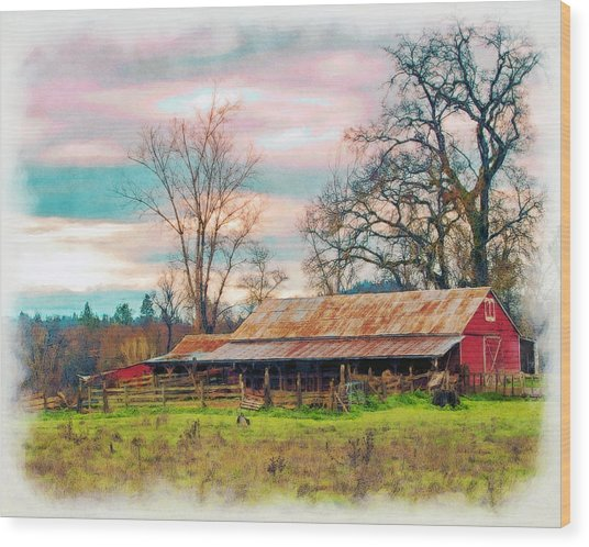 Barn In Penn Valley Painted Wood Print