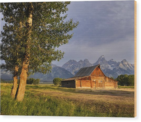Barn In The Tetons Wood Print