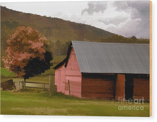 Barn In Vermont Wood Print