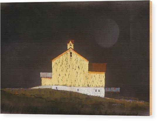 Barn On Black #3 Wood Print