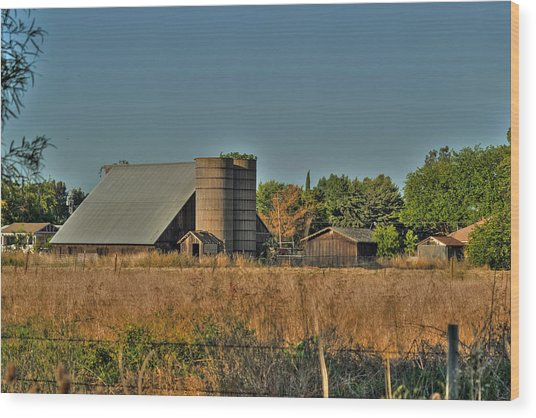 Barn On Interstate 5 Wood Print