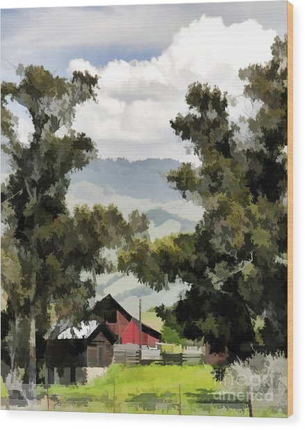 Barn On Santa Rosa Road Wood Print
