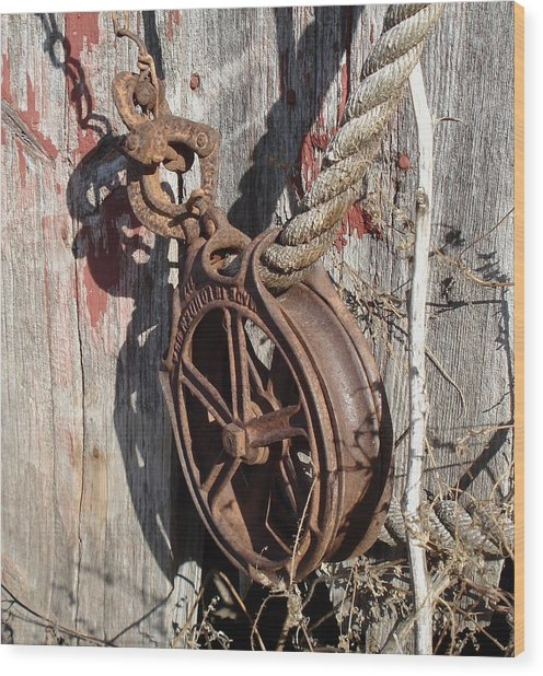 Barn Pulley Wood Print
