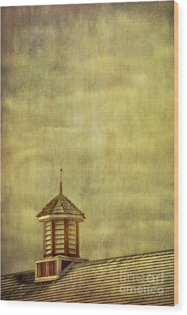 Barn Rooftop With Weather Vane Wood Print
