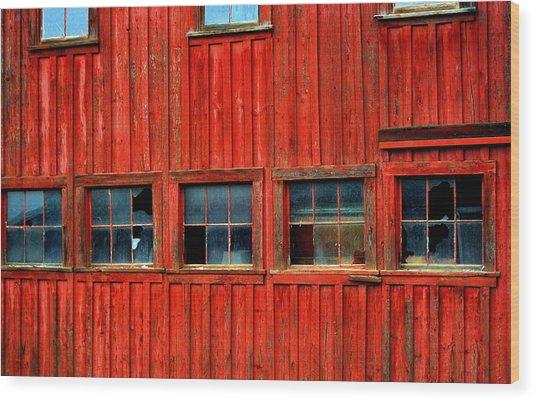 Barn Windows Wood Print by Mamie Gunning