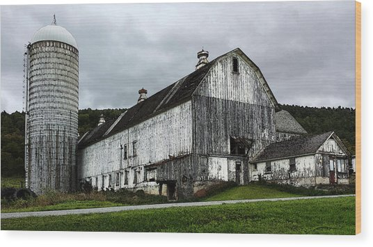 Barn With Silo Wood Print