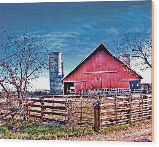 Barn With Silos Wood Print