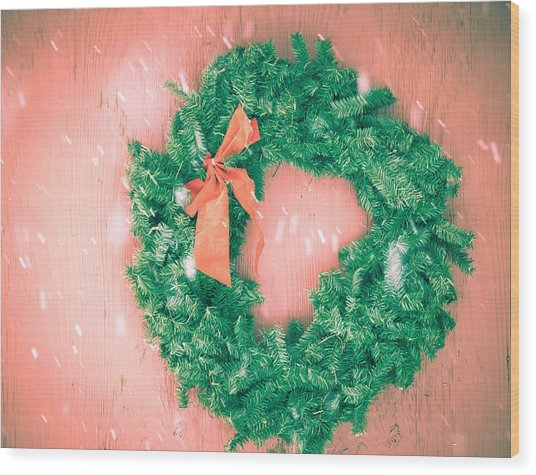Barnyard Wreath Wood Print by Nickaleen Neff