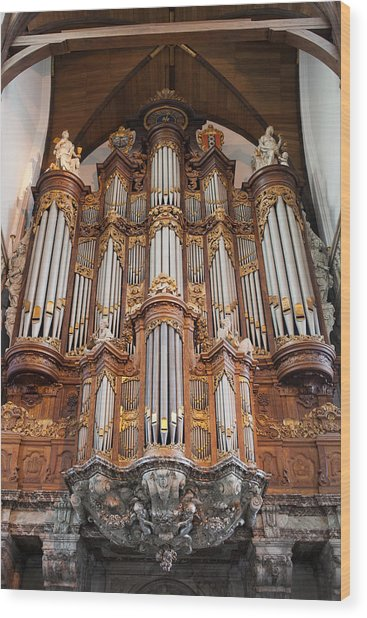 Baroque Grand Organ In Oude Kerk In Amsterdam Wood Print