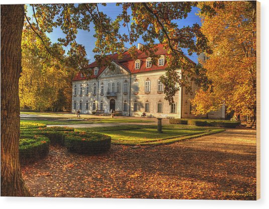 Baroque Palace In Nieborow In Poland During Golden Autumn Wood Print