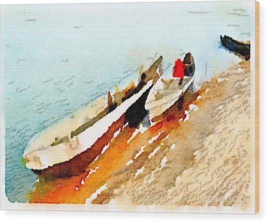 Barques Sur Le Chari Wood Print