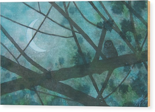 Barred Owl Moon Wood Print