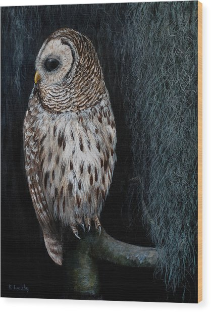 Barred Owl On A Mossy Perch Wood Print