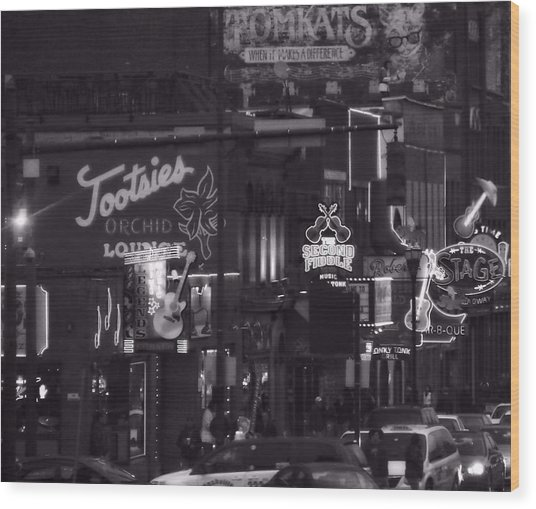 Bars On Broadway Nashville Wood Print