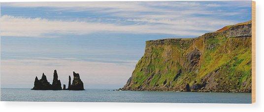 Basalt Rock Formations In The Sea, Vik Wood Print