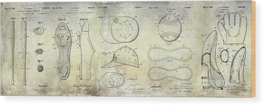 Baseball Patent Panoramic Wood Print