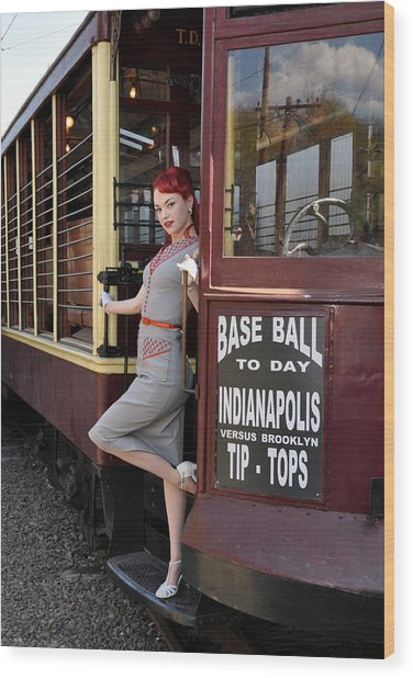 Base Ball To Day Color Version Wood Print