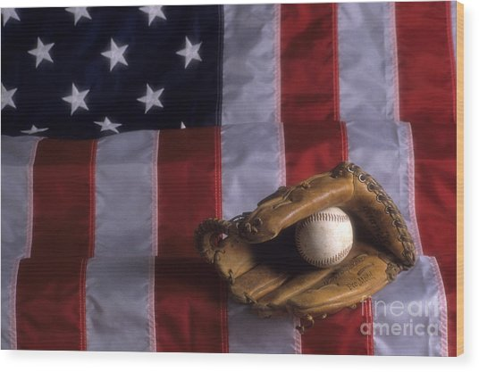 Baseball And American Flag Wood Print