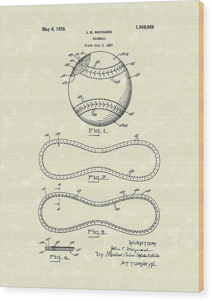 Baseball By Maynard 1928 Patent Art Wood Print