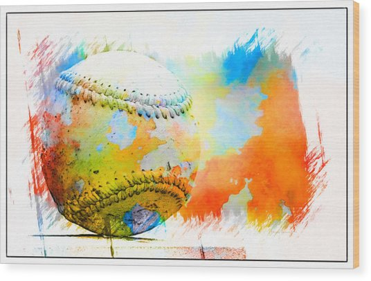 Baseball- Colors- Isolated Wood Print