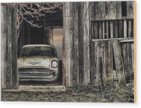 Baseball Hotdogs Applepie And Chevrolets Wood Print