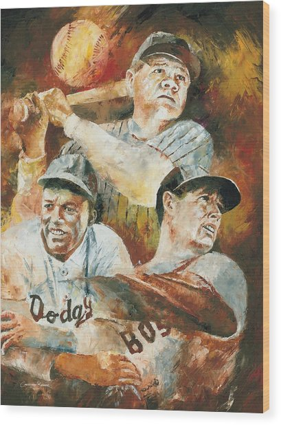 Baseball Legends Babe Ruth Jackie Robinson And Ted Williams Wood Print