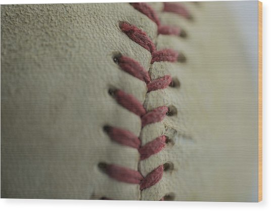 Baseball Macro Wood Print
