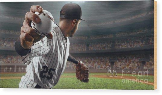 Baseball Player Throws The Ball On Wood Print