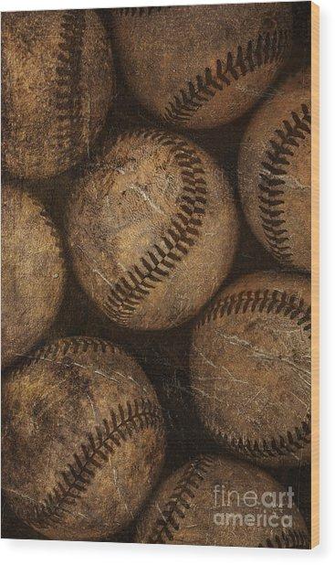Baseballs Wood Print
