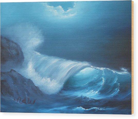 Basic Wave Wood Print