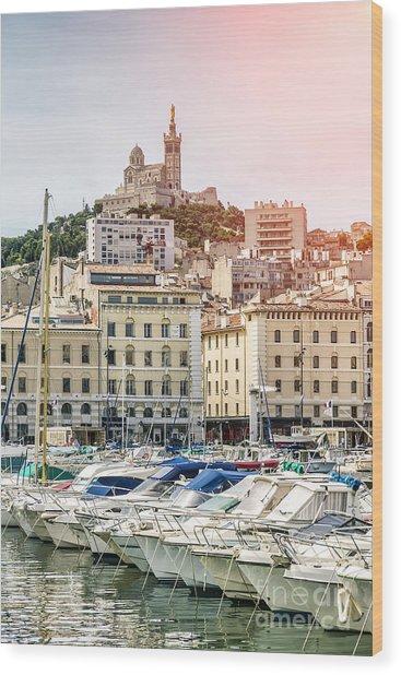 Basilique Notre-dame De La Garde From The Vieux Port Of Marseille Wood Print by Pier Giorgio Mariani