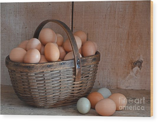 Basket Full Of Eggs Wood Print