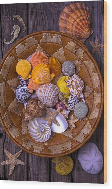 Basket Full Of Seashells Wood Print