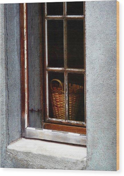 Basket In Window Wood Print