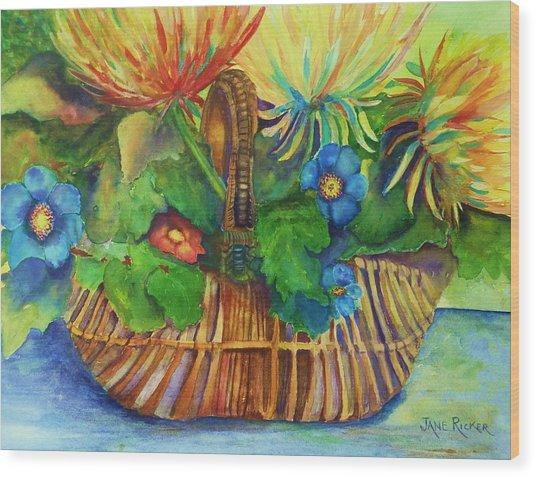 Flowers In My Basket Wood Print