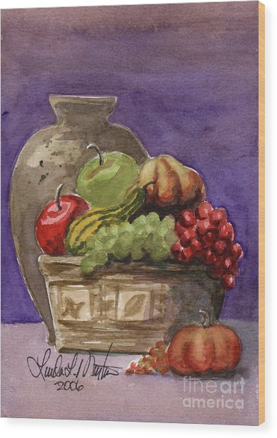 Basket Of Fruit Wood Print