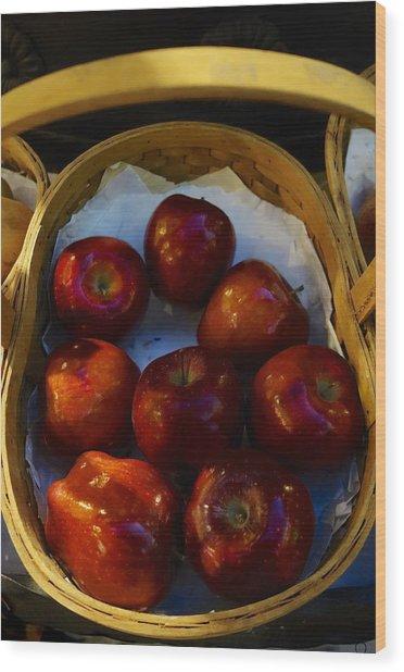 Basket Of Red Apples Wood Print
